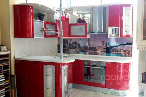 Кухня «Гамма», красный глянец